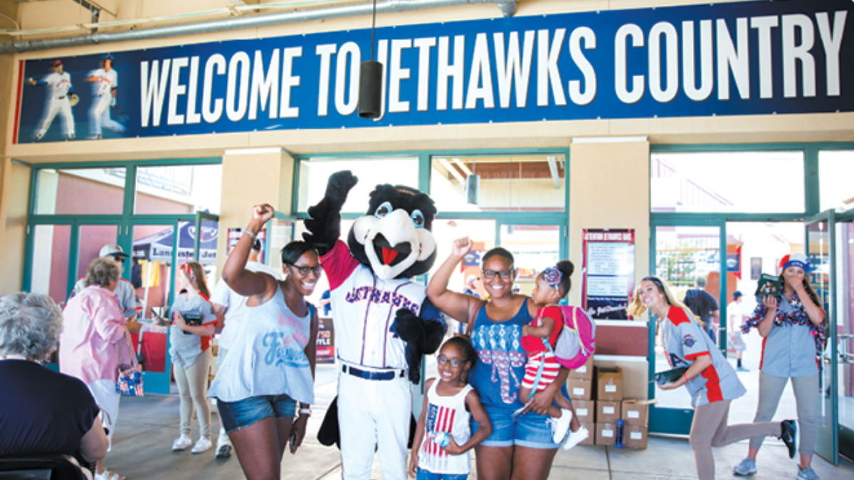 Lancaster JetHawks Baseball fans and mascot, Edwards Air Force Base Antelope Valley and Local Area Attractions