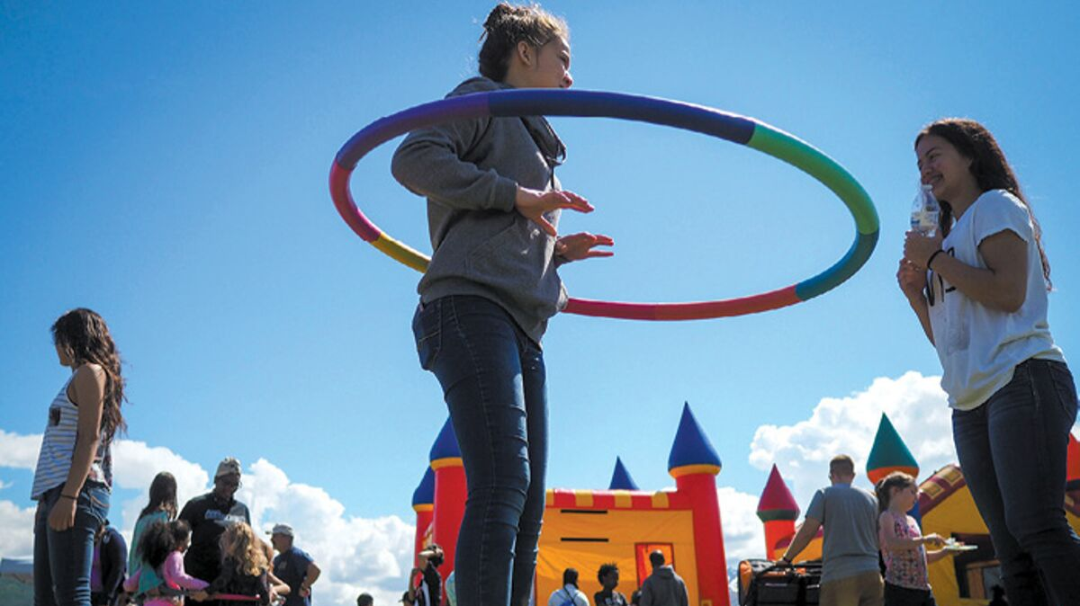Kids using hula-hoop, Joint Base Elmendorf-Richardson, JBER