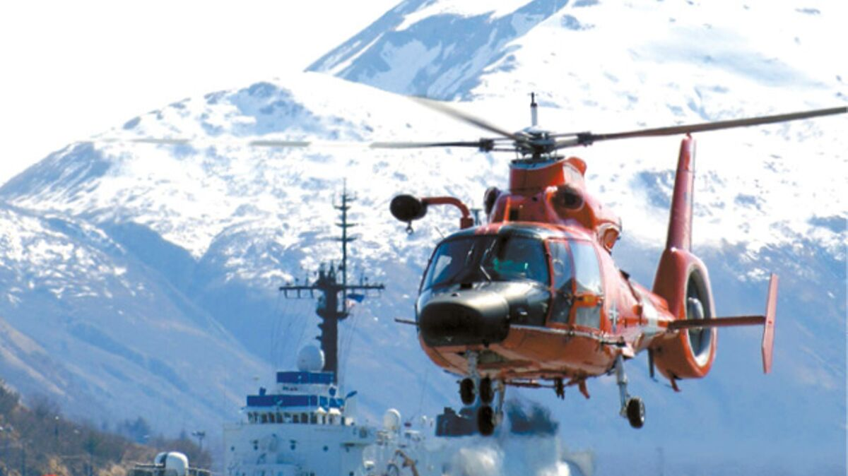 Coast Guard Helicopter and Ship