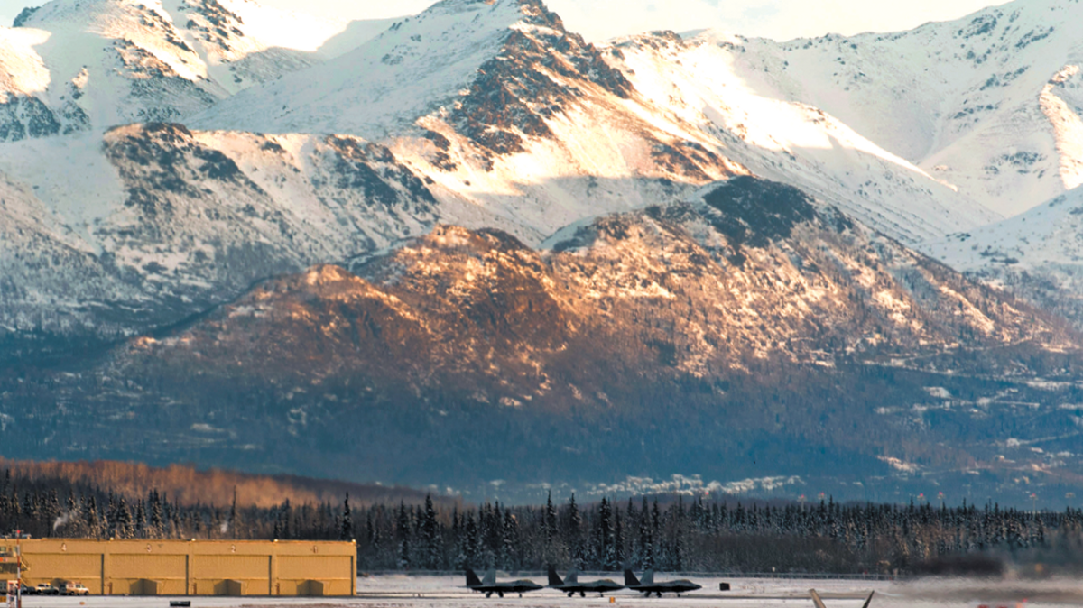 Airfield with mountains in distance, Joint Base Elmendorf-Richardson, JBER